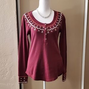 Lucky Brand embroidered thermal top
